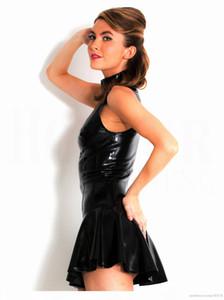 S-XXL Artı Boyutu Kadınlar Sıcak Seksi Lateks Bodycon Elbise PVC Sexy Lingerie Catsuit Lateks Elbiseler Teddies Kostüm
