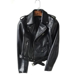 Asstseries Pu Femmes Mode Couleur vive Noir Moto Manteau court Faux cuir souple Biker Jacket Femme