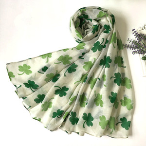 Leaf Clover Shamrock Print Women's Infinity Scarf St Patrick Day factory derectly sale Ring Scarfs two colors
