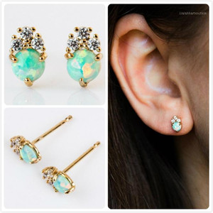 Delicate Fire Opal Earrings For Women Wedding Flower Earrings Party Australia Gem Stone Earring Girl Gift Zircon aretes R51
