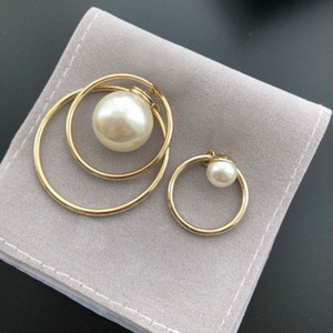 HOT SELL Fashion pearl stud hoop earrings for lady Women Party Wedding Lovers gift engagement Jewelry With BOX .LZ