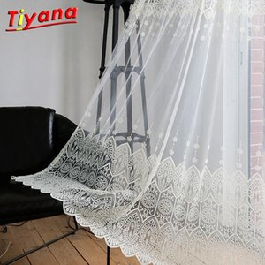 Embroidery Geometric Tulle Curtain For Baby Girl Bedroom Sheer Curtains For Living Room Children Japanese Korean Tulle WP022 *401