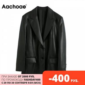 Aachoae Streetwear черный PU искусственной кожи Blazer Женщины Сыпучие однобортный блейзеры Coat Мода длинным рукавом куртки с карманами