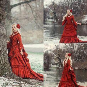 2021 Vintage Gothic Princess Wedding Dresses Long Sleeves Ruffles Medieval Renaissance Victorian Bridal Gowns Winter Robe De Mariage Vestido