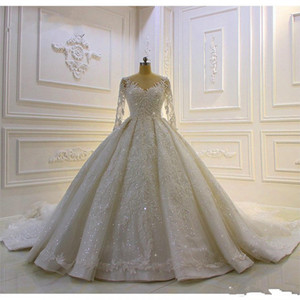 Modest 2020 Ball Gown Wedding Dresses Long Sleeve Bridal Gowns Sheer Jewel Neck Lace Appliqued Sequins Plus Size Robe De Mariee Custom Made