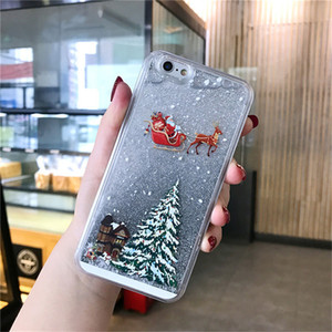Merry Christmas 12 Phone Case shell For iPhone mini 12 pro max 11 SE 11Pro Max X XR XS Max 7 8 6 Dynamic Quicksand Glitter Back Cover