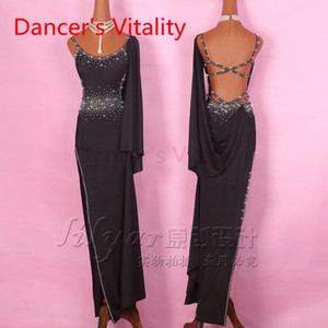 Latin Dance Dress Women Straps shoulder Left Opening Salsa Tango Rumba Flamengo Ballroom Latin Dance Competition Costumes