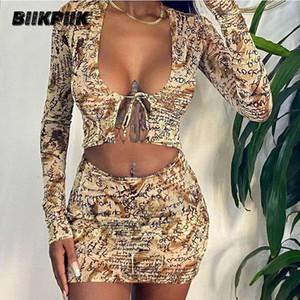 BIIKPIIK Letter Print Bodycon Skirts Sets Casual Lounge Wear Drawstring Top+Mini Skirt Two Piece Set Female Fasion Kit Outifits