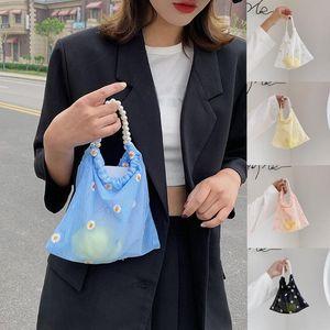 2020 sexy women bags Mesh Applique Little Daisy Bags Shopping Handbag Bathing underwear bag Clutch Bag blue white black color