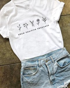 Grow Positive Thoughts funny women fashion quote t shirt grunge pure cotton girl street style hipster tees vintage graphic tops