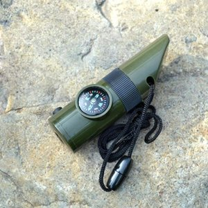 Outdoor Emergency 7 in 1 Survival Whistle, Compass, Magnifier, LED Flashlight, Thermometer, Safety Tools, Silo,Emergency Survival Gear