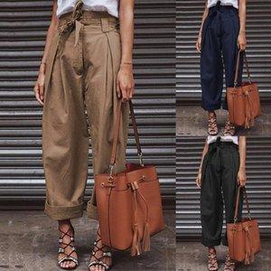 Paper Bag Mulheres calças de algodão de linho de cintura alta calças perna larga Moda Feminina Zipper Up Belted Chic Trabalho Calças Pantalon