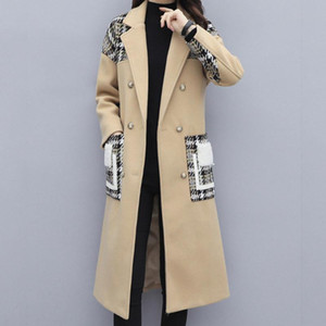 Women Jackets Womens Oversize Lapel Cashmere Wool Blend Belt Trench Coat Outwear Jacket Women Long Coat #YB40