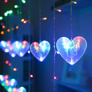 5 Strings of Medium Love Curtain Lights Christmas Decoration 108L 2.5 Meters Long LED Indoor Outdoor Party Wedding Decoration