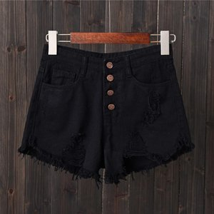 Hole Ripped Jeans Shorts Fashion Tassel Denim Shorts Women Sexy High Waist Short Pants Summer Shorts Femme Buttons Pockets 6XL
