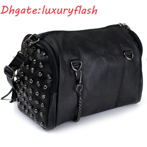 2021 NOUVEAU Mode Femmes Skull Sac Tassel Rivet Sacs à bandoulière Sac à main Point À Sac à main Brochebonne Bolsa Lady Vintage Sacs Punk Black Grand