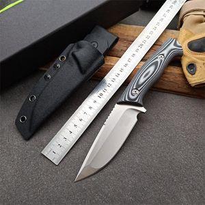 1 pz New Survival Straight Knife DC53 Satin Drop Point Blade Full Tang G-10 Maniglia Coltelli da caccia a lama fissa con Kydex