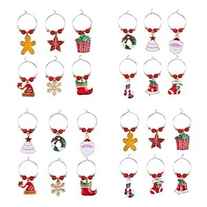 1Set Christmas Wine Glass Decoration Charms Party New Year Cup Ring Table Decorations Xmas Pendants Metal Ring Decor