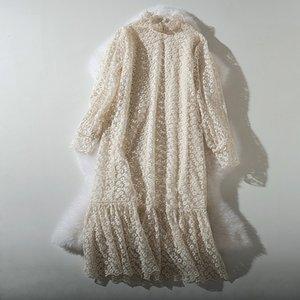 Cthink Printemps Nouveau col en dentelle Stand Robe longue Women Bonne qualité de style ourlet volanté Pull Vestidos Femmes Sexy Robes 200929