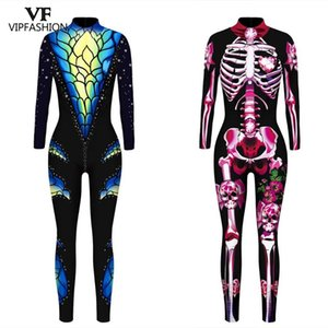 VIP FASHION Mechanical Bodysuit Halloween Costumes For Women 3D Print Rose Skeleton Jumpsuit Plus Size Cosplay Costume