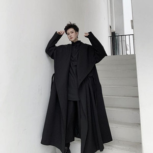 Men Overcoat Vintage Gothic Designer Long Trench Coat Mens Jackets Coats Black Casual Long Windbreak Coat Autumn Winter Outwear