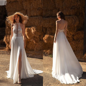 2021 Bohemia Wedding Dresses Halter Neck Lace Appliques Split Bridal Gowns Custom Made Backless Sweep Train A Line Wedding Dress