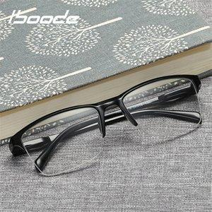 Ibooode Yarım Çerçeve Okuma Presbiyopik Gözlük Erkek Kadın Uzak Görme Gözlükleri Ultra Açık Siyah Gücü +75 - +400