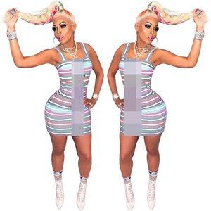 2019 diseñador mujer verano vestidos de verano raya de color uno-pieza vestido de bodycon mujeres de lujo faldas cortas de la fiesta de la fiesta de la ropa c