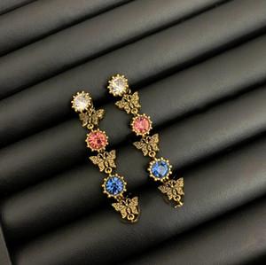 جديد الرجعية السيدات اللون الماس فراشة قلادة ليوبارد رئيس النسخة عالية سوار الأقراط الاجتماع الاجتماعي مجوهرات اكسسوارات