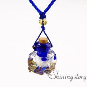 Pequeños frascos de perfume de Lampwork colgantes de cristal de aromaterapia perfume del aceite esencial collar de los colgantes colgante Difusores Difusor de aceite esencial