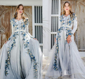 2021 Baby Blue Prom Dresses Long Sleeves Embroidery V Neck 3D Floral Applique Mermaid Ribbon Floor Length Custom Made Evening Party Gowns