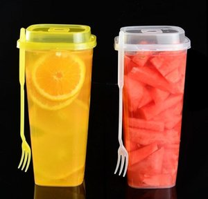 With Cup Drink Fork Disposable Thick Transparent Cups Plastic Lid 960ml Juice Cup Cups