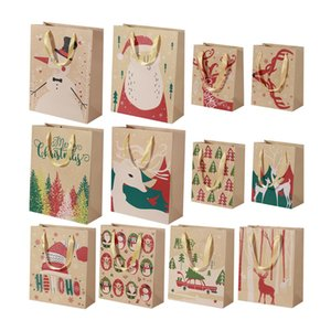 24pcs Christmas Kraft Paper Bags With Handle Party Gift Bag Christmas Favor Present Wrapping Bags Xmas Party Favors Supplie sqcnqK