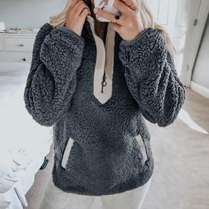 여성 후드 따뜻한 터틀넥 두꺼운 Sherpa 탑스 새로운 여성 양털 스웨터 겨울 캐주얼 가짜 모피 지퍼 칼라