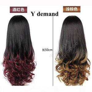 Moda longo encaracolado ombre peruca queda Dois tons caem 3 4 meia peruca para mulheres com mais cores opção moderna em estoque