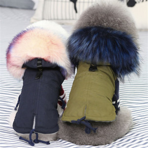 Winter Clothes Luxury Faux Fur Collar Coat for Small Warm Windproof Pet Parka Fleece Lined Puppy Jacket Dog Clothing 201031