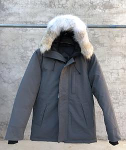 2020 브랜드의 새로운 큰 코요테 모피 방수 새로운 남성 두꺼운 캐나다 미국 스타일 샤또 파카 코트 겨울 따뜻한 재킷 -30도