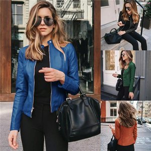 Short Suit Faux Leathers Womens Pu Leather Fshion Jackets Spring Autumn Woman Stand Collar Zipper Solid Short Coats Women Button