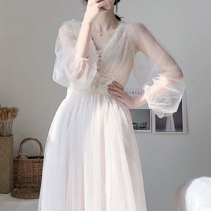 Dress women autumn plus size dress elegant button A-Line vestidos Solid Puff Sleeve Empire V-Neck lace voile mesh 8126 50 201015