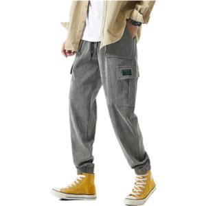 Uomini invernali Casual Corduroy Harajuku Pantaloni larghi Gamba Pantaloni da gamba da uomo Giapponese Streetwear Sweatpants Maschio Coreano Joggers Pantaloni