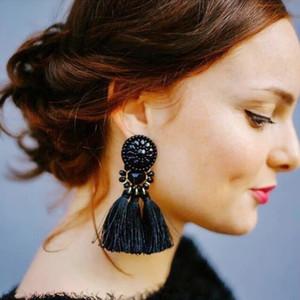 Bohemian Long Tassel Drop Earrings Luxury Resin Beads Tassel Earrings For Women Vintage ethnic Statement Tassel Dangle Earrings
