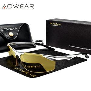 Sürücü Gafas için Aowear Hd Sürüş Gözlük Erkekler Polarize Gece Görüş Güneş Erkekler Alüminyum Sarı Güneş Glassses