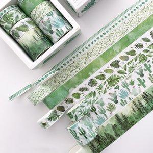 8 Rolls set Adhesive Masking Set Green Leaves Cactus Flamingo Creative Washi Tapes DIY Scrapbooking Sticker Decorative Tape T200229 2016