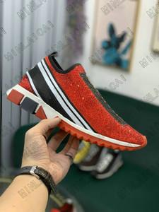 Slorrento Slip-on Italia para mujer Lujos de diamante Zapatillas de deporte de diamante Estiramiento de calcetines de punto Dos tonos Micro Sole Crystal Mens Zapatos casuales