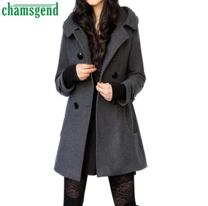 CHAMSGEND Autumn Winter Blend Coat women warm Long Sleeve Wool Overcoat Female Casual pocket Hoode Jacket Coats Abrigos #7