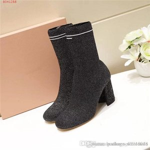 High heel knit boots socks shoes,2019 Socks and shoes for autumn and winter, comfortable and breathable high knit boots With box size 35-40