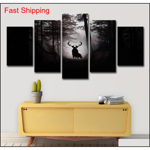 Modern Canvas Prints Pictures Home Decor Living Room 5 Pieces Deer Dark Forest Night Paintings Wall Art Anime Posters 71Ski