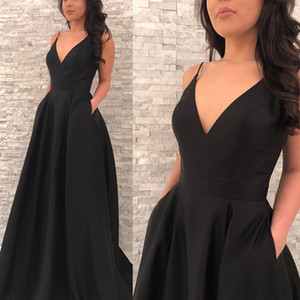 Sexy Deep V Neck Spaghetti Straps A-line Little Train Skirt With Pocket Black Prom Evening Gown Night Club Party Dress