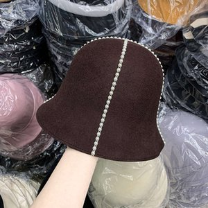 الصوف Hepburn's New Pearl Bucket Hat for Women