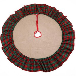 new arrival Christmas tree skirt Burlap material cotton ruffle 48inch embroidered home Hotel decoration 5 style Christmas supplies SN1781